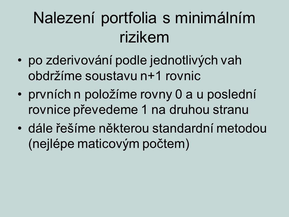 Nalezení portfolia s minimálním rizikem po zderivování podle jednotlivých vah obdržíme soustavu n+1 rovnic prvních n položíme rovny 0 a u poslední rov