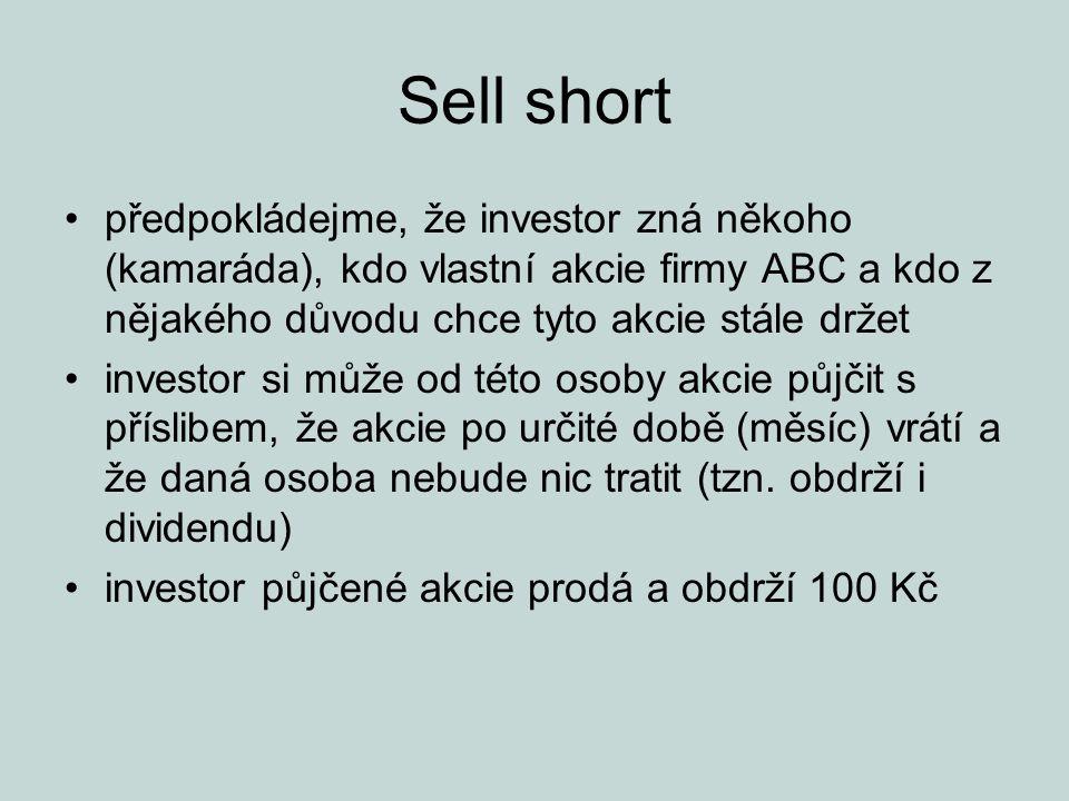 Sell short předpokládejme, že investor zná někoho (kamaráda), kdo vlastní akcie firmy ABC a kdo z nějakého důvodu chce tyto akcie stále držet investor si může od této osoby akcie půjčit s příslibem, že akcie po určité době (měsíc) vrátí a že daná osoba nebude nic tratit (tzn.