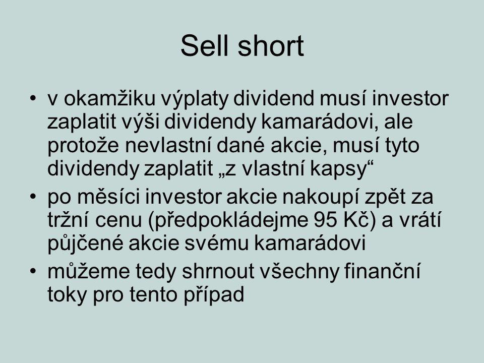 """Sell short v okamžiku výplaty dividend musí investor zaplatit výši dividendy kamarádovi, ale protože nevlastní dané akcie, musí tyto dividendy zaplatit """"z vlastní kapsy po měsíci investor akcie nakoupí zpět za tržní cenu (předpokládejme 95 Kč) a vrátí půjčené akcie svému kamarádovi můžeme tedy shrnout všechny finanční toky pro tento případ"""