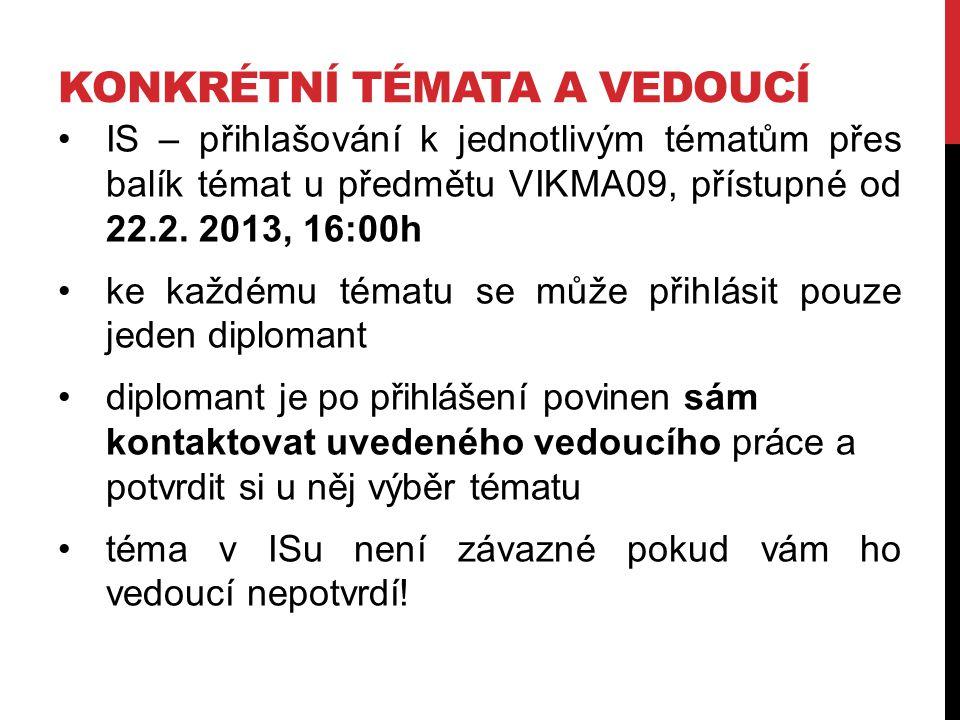KONKRÉTNÍ TÉMATA A VEDOUCÍ IS – přihlašování k jednotlivým tématům přes balík témat u předmětu VIKMA09, přístupné od 22.2. 2013, 16:00h ke každému tém