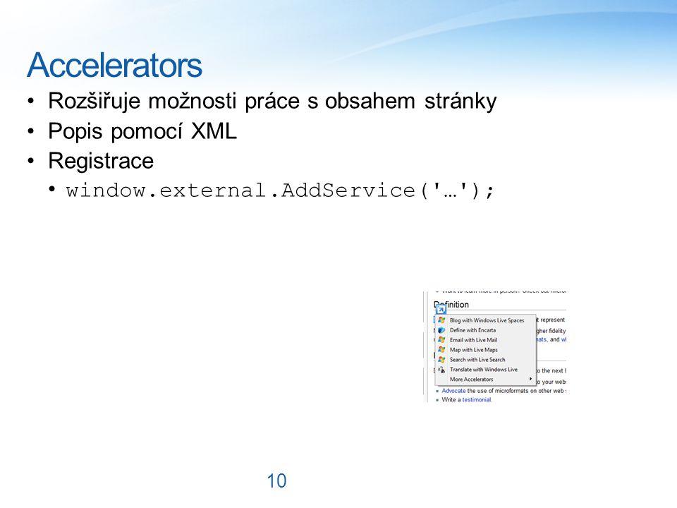 Accelerators Rozšiřuje možnosti práce s obsahem stránky Popis pomocí XML Registrace window.external.AddService( … ); 10