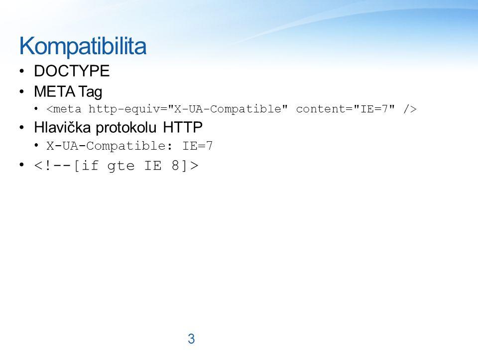 Kompatibilita DOCTYPE META Tag Hlavička protokolu HTTP X-UA-Compatible: IE=7 3