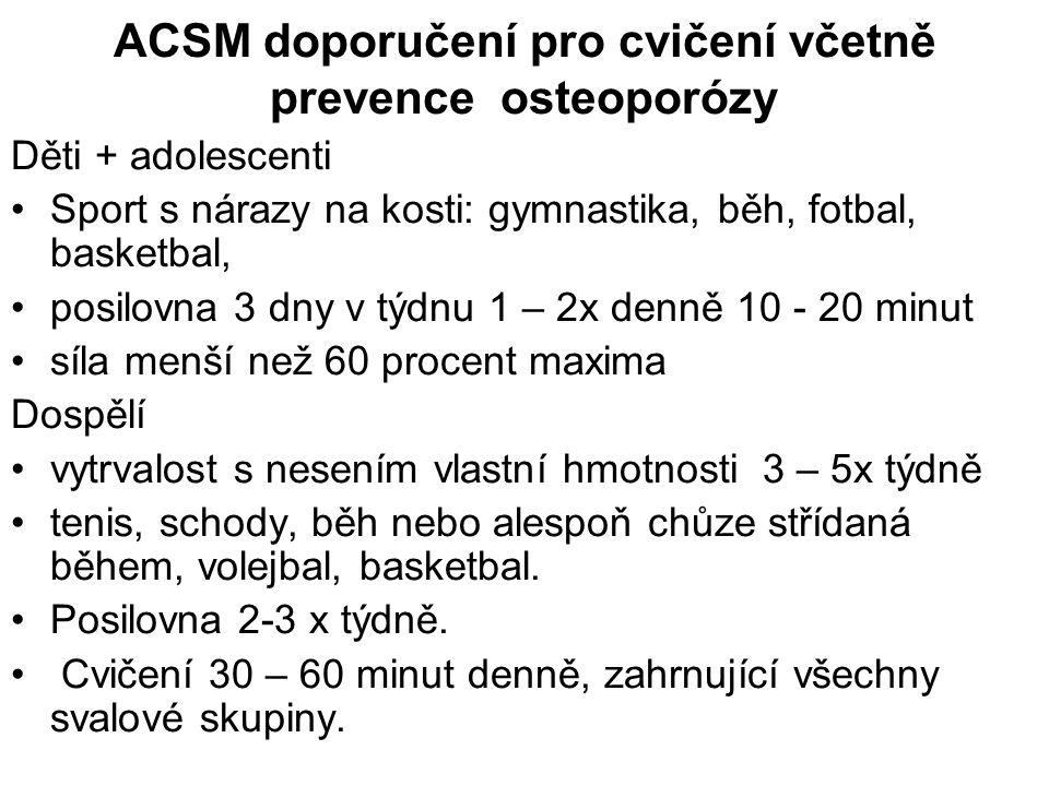 ACSM doporučení pro cvičení včetně prevence osteoporózy Děti + adolescenti Sport s nárazy na kosti: gymnastika, běh, fotbal, basketbal, posilovna 3 dn