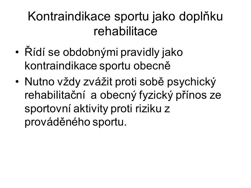 Kontraindikace sportu jako doplňku rehabilitace Řídí se obdobnými pravidly jako kontraindikace sportu obecně Nutno vždy zvážit proti sobě psychický re