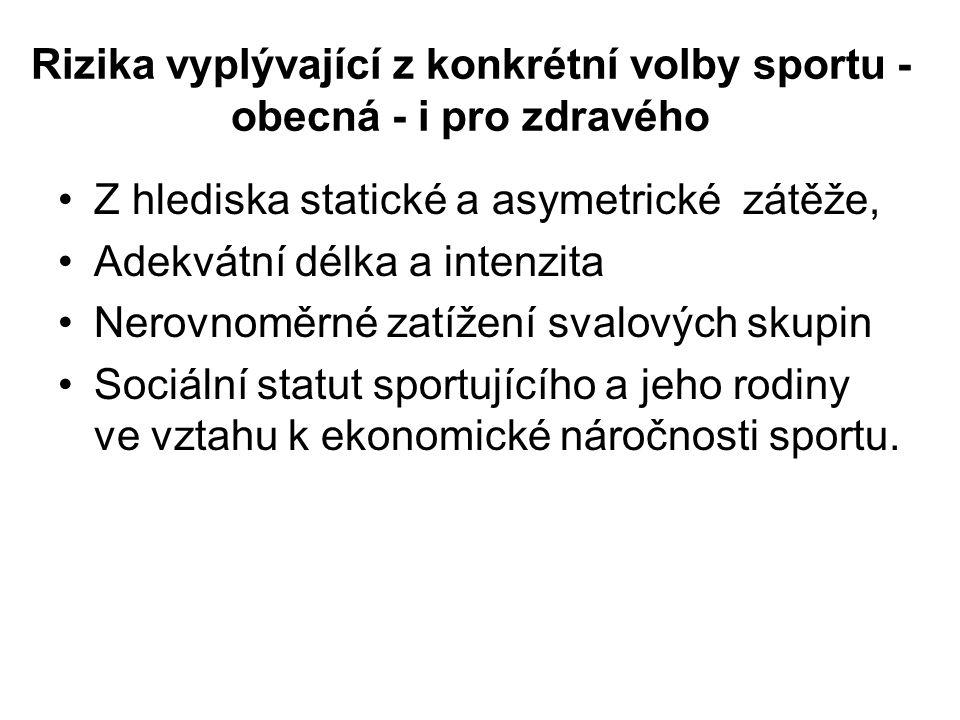 Rizika vyplývající z konkrétní volby sportu - obecná - i pro zdravého Z hlediska statické a asymetrické zátěže, Adekvátní délka a intenzita Nerovnoměr