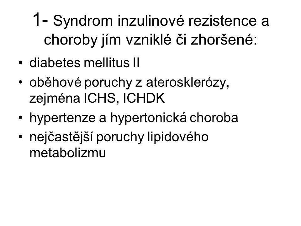 1- Syndrom inzulinové rezistence a choroby jím vzniklé či zhoršené: diabetes mellitus II oběhové poruchy z aterosklerózy, zejména ICHS, ICHDK hyperten