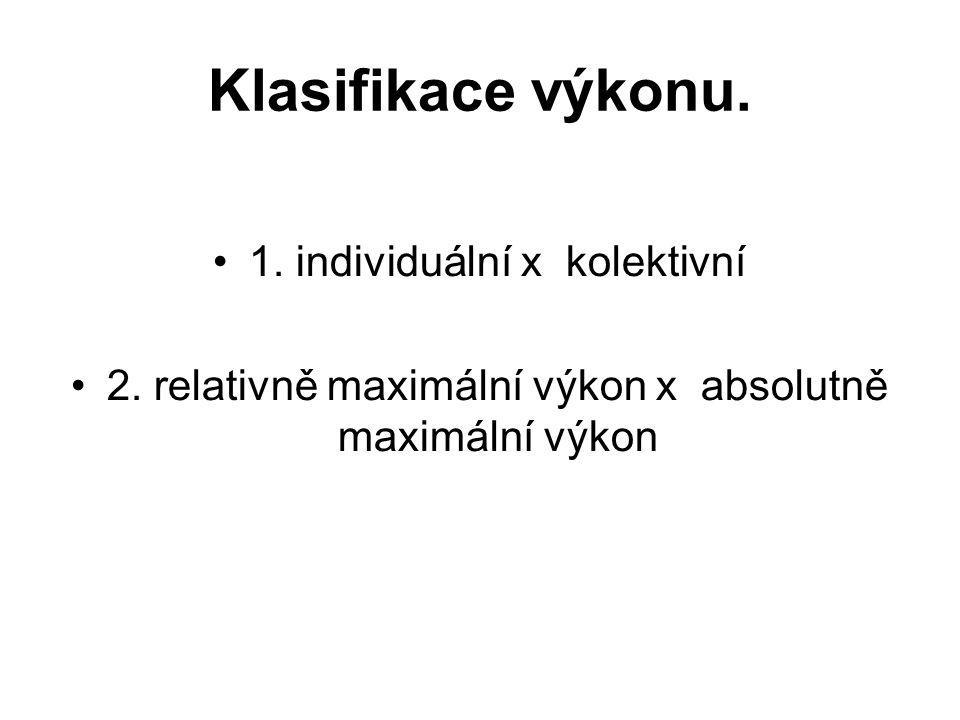 Klasifikace výkonu. 1. individuální x kolektivní 2.