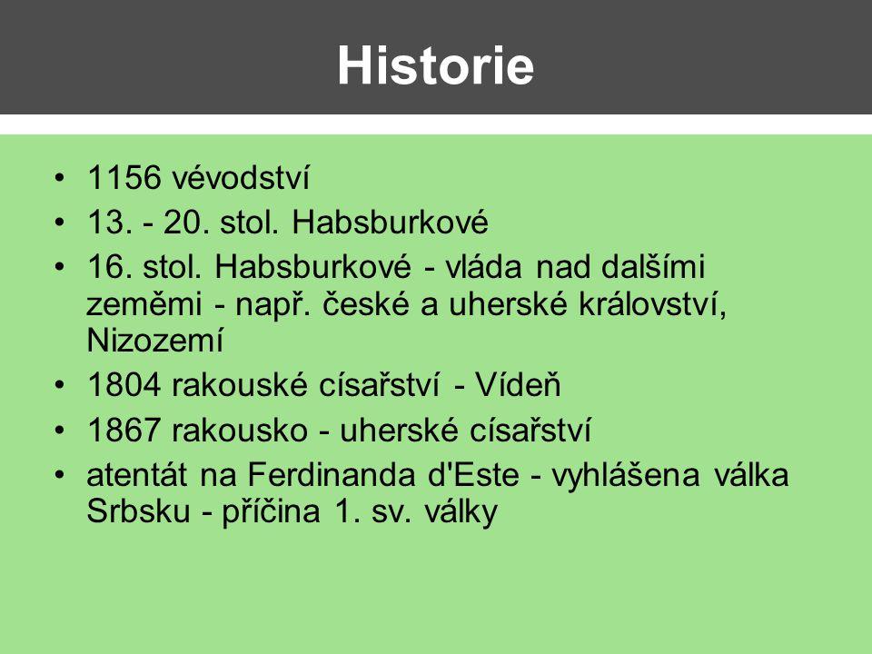 Historie 1156 vévodství 13. - 20. stol. Habsburkové 16. stol. Habsburkové - vláda nad dalšími zeměmi - např. české a uherské království, Nizozemí 1804