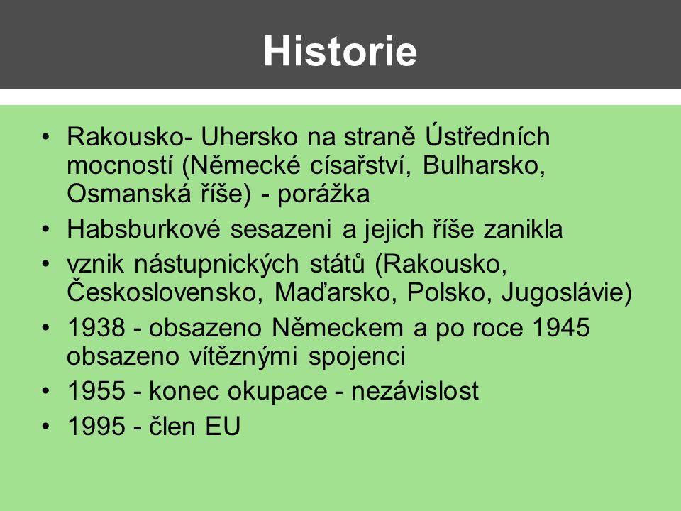 Historie Rakousko- Uhersko na straně Ústředních mocností (Německé císařství, Bulharsko, Osmanská říše) - porážka Habsburkové sesazeni a jejich říše za