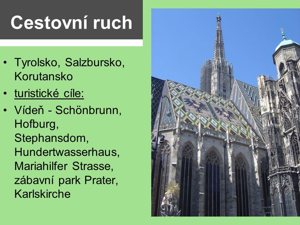 Cestovní ruch Tyrolsko, Salzbursko, Korutansko turistické cíle: Vídeň - Schönbrunn, Hofburg, Stephansdom, Hundertwasserhaus, Mariahilfer Strasse, zába