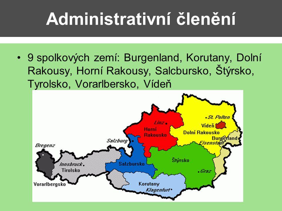Administrativní členění 9 spolkových zemí: Burgenland, Korutany, Dolní Rakousy, Horní Rakousy, Salcbursko, Štýrsko, Tyrolsko, Vorarlbersko, Vídeň