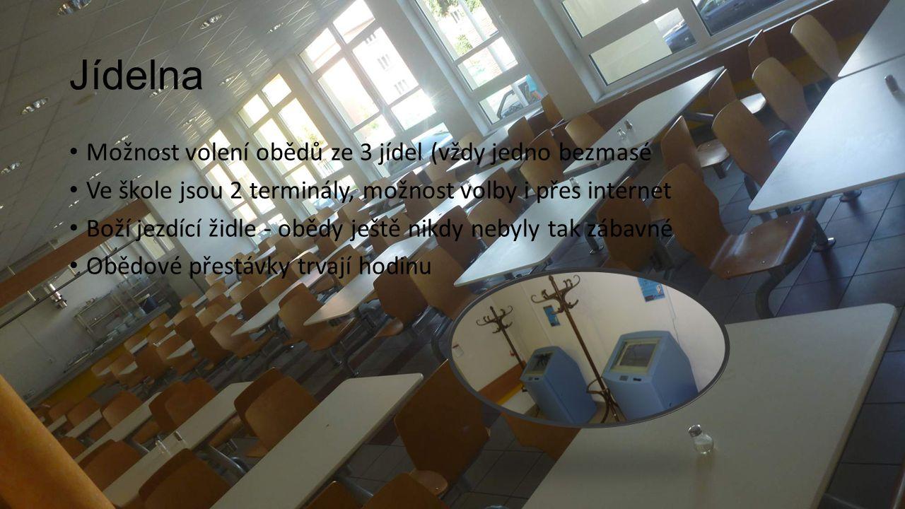 Jídelna Možnost volení obědů ze 3 jídel (vždy jedno bezmasé Ve škole jsou 2 terminály, možnost volby i přes internet Boží jezdící židle - obědy ještě