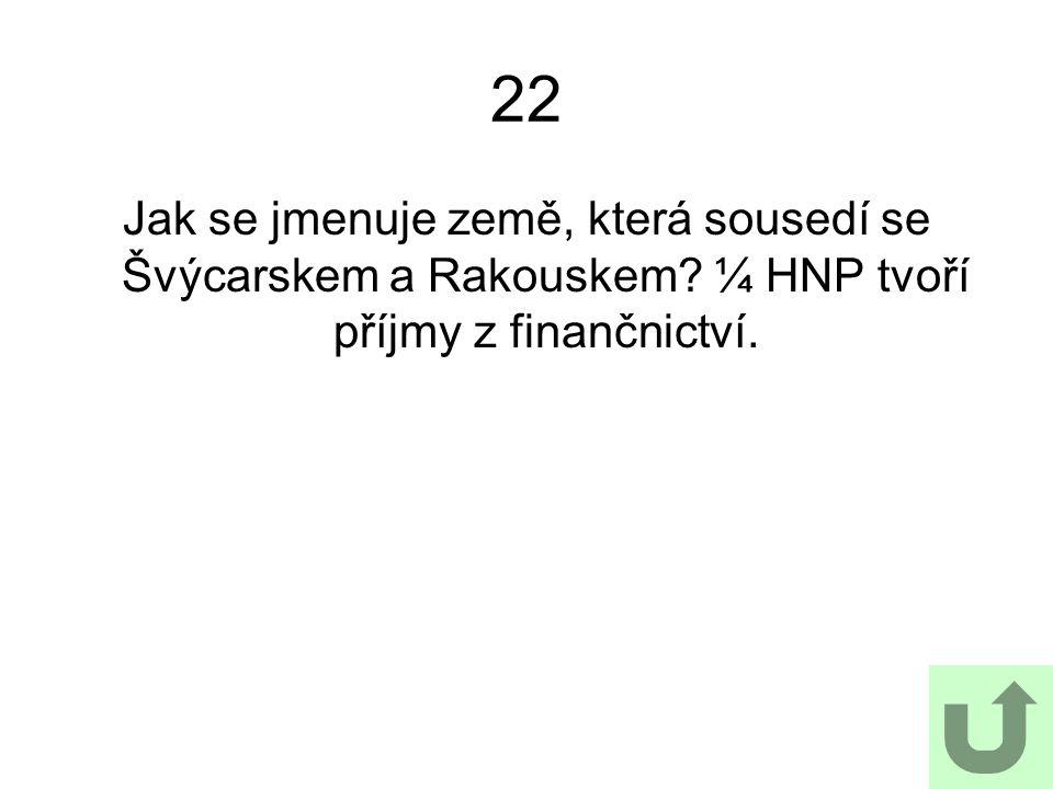 22 Jak se jmenuje země, která sousedí se Švýcarskem a Rakouskem? ¼ HNP tvoří příjmy z finančnictví.