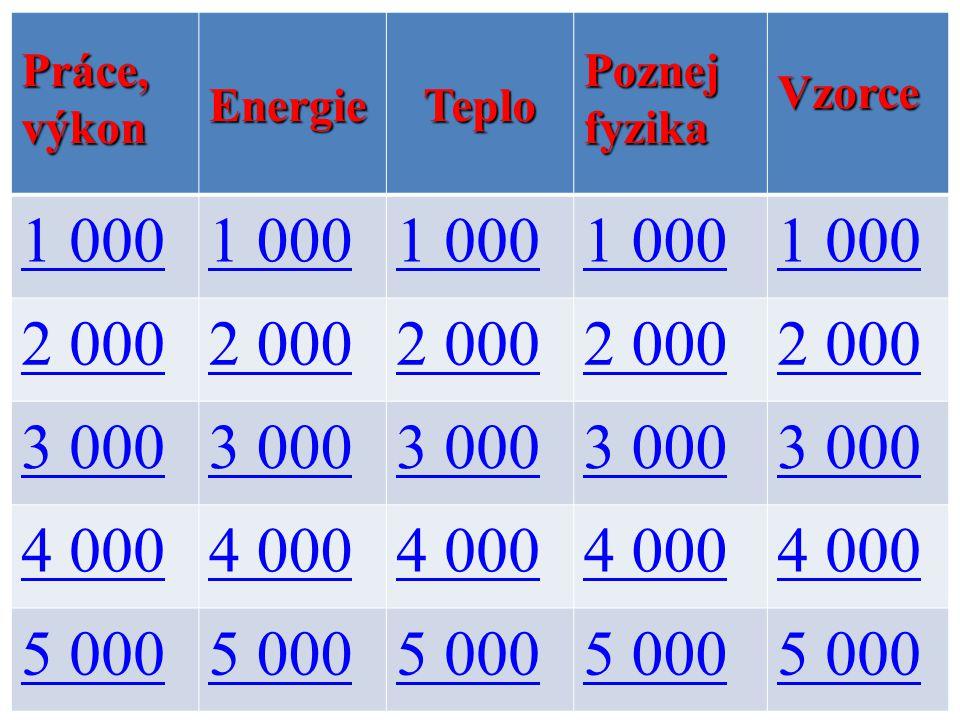 Práce, výkon EnergieTeplo Poznej fyzika Vzorce 1 000 2 000 3 000 4 000 5 000