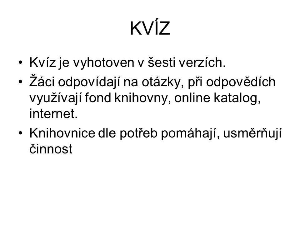 KVÍZ Kvíz je vyhotoven v šesti verzích.