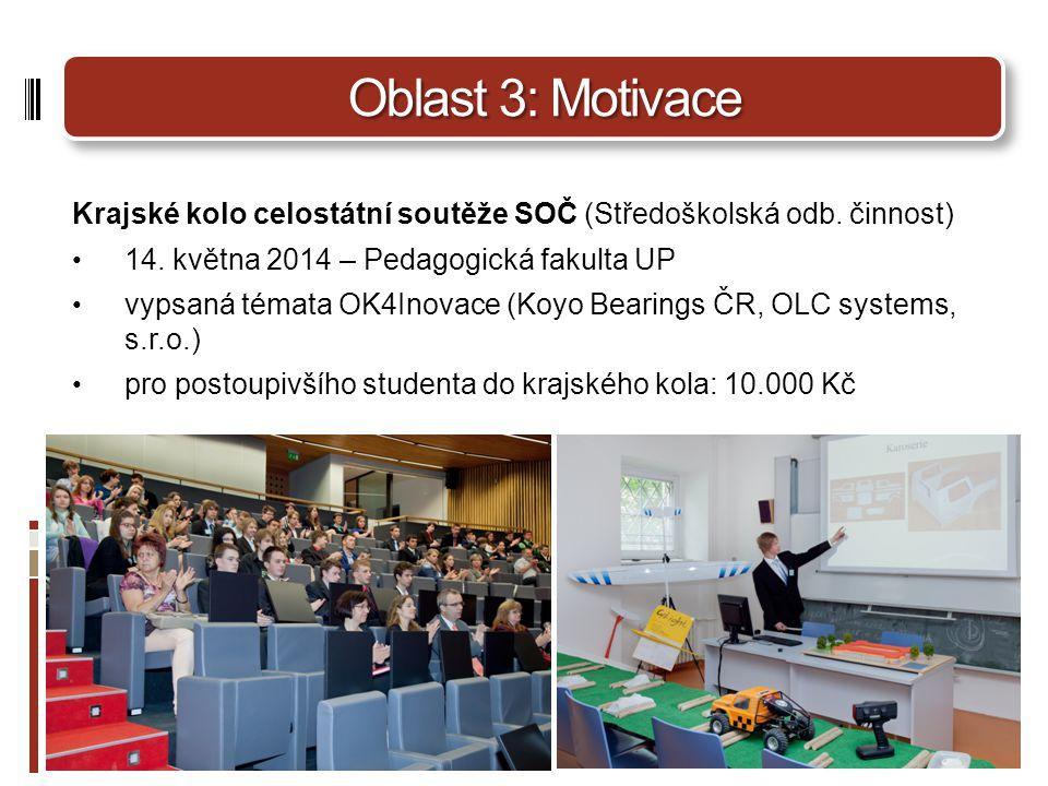 Oblast 3: Motivace Krajské kolo celostátní soutěže SOČ (Středoškolská odb.