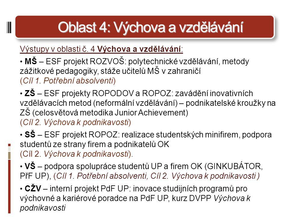 Oblast 4: Výchova a vzdělávání Výstupy v oblasti č.