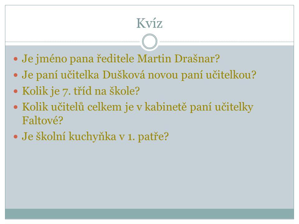 Kvíz Je jméno pana ředitele Martin Drašnar. Je paní učitelka Dušková novou paní učitelkou.