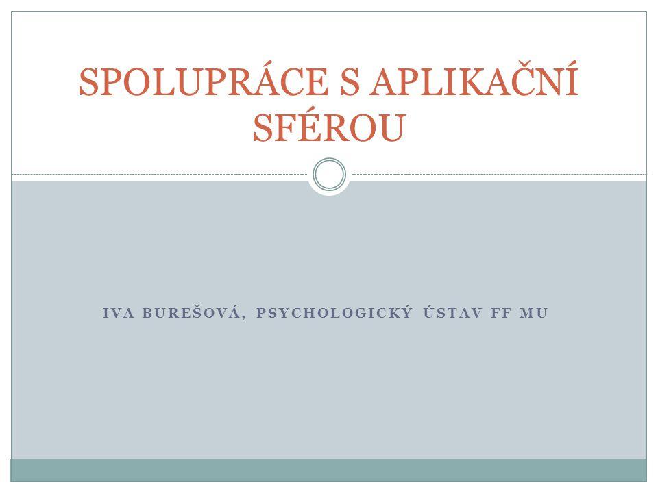 IVA BUREŠOVÁ, PSYCHOLOGICKÝ ÚSTAV FF MU SPOLUPRÁCE S APLIKAČNÍ SFÉROU