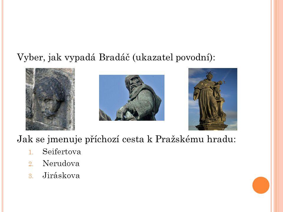 Vyber, jak vypadá Bradáč (ukazatel povodní): Jak se jmenuje příchozí cesta k Pražskému hradu: 1.