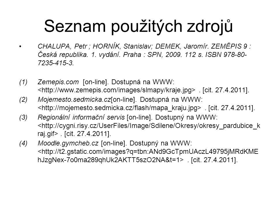 Seznam použitých zdrojů CHALUPA, Petr ; HORNÍK, Stanislav; DEMEK, Jaromír.