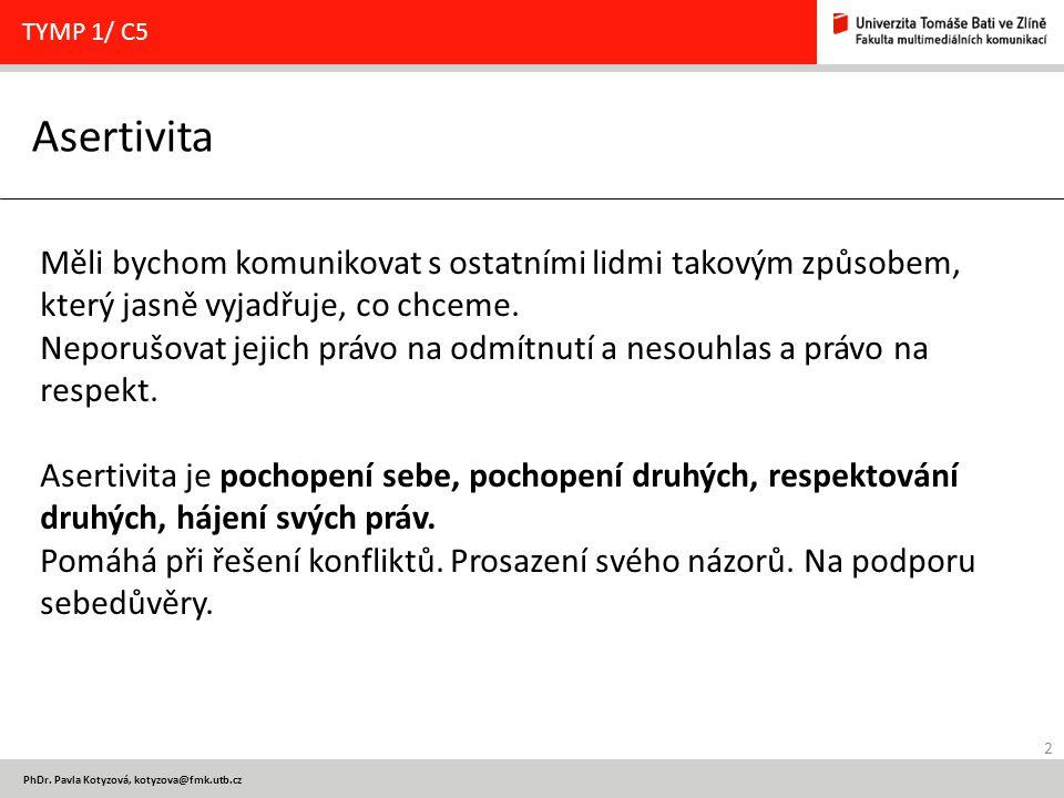 2 PhDr. Pavla Kotyzová, kotyzova@fmk.utb.cz Asertivita TYMP 1/ C5 Měli bychom komunikovat s ostatními lidmi takovým způsobem, který jasně vyjadřuje, c