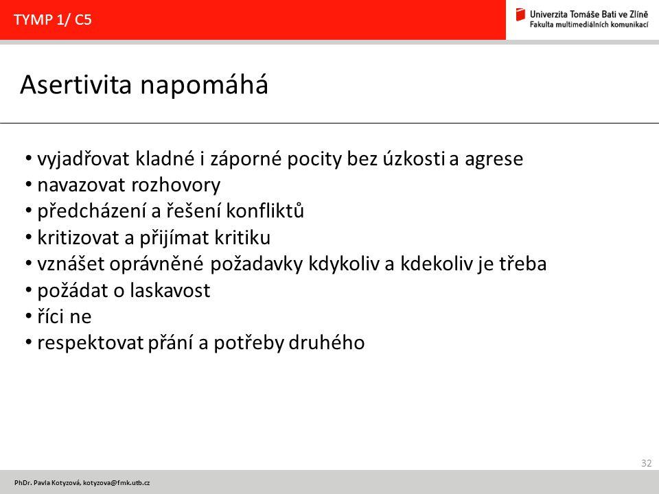 32 PhDr. Pavla Kotyzová, kotyzova@fmk.utb.cz Asertivita napomáhá TYMP 1/ C5 vyjadřovat kladné i záporné pocity bez úzkosti a agrese navazovat rozhovor