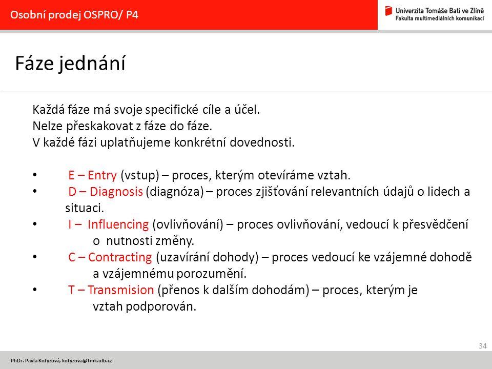 34 PhDr. Pavla Kotyzová, kotyzova@fmk.utb.cz Fáze jednání Osobní prodej OSPRO/ P4 Každá fáze má svoje specifické cíle a účel. Nelze přeskakovat z fáze
