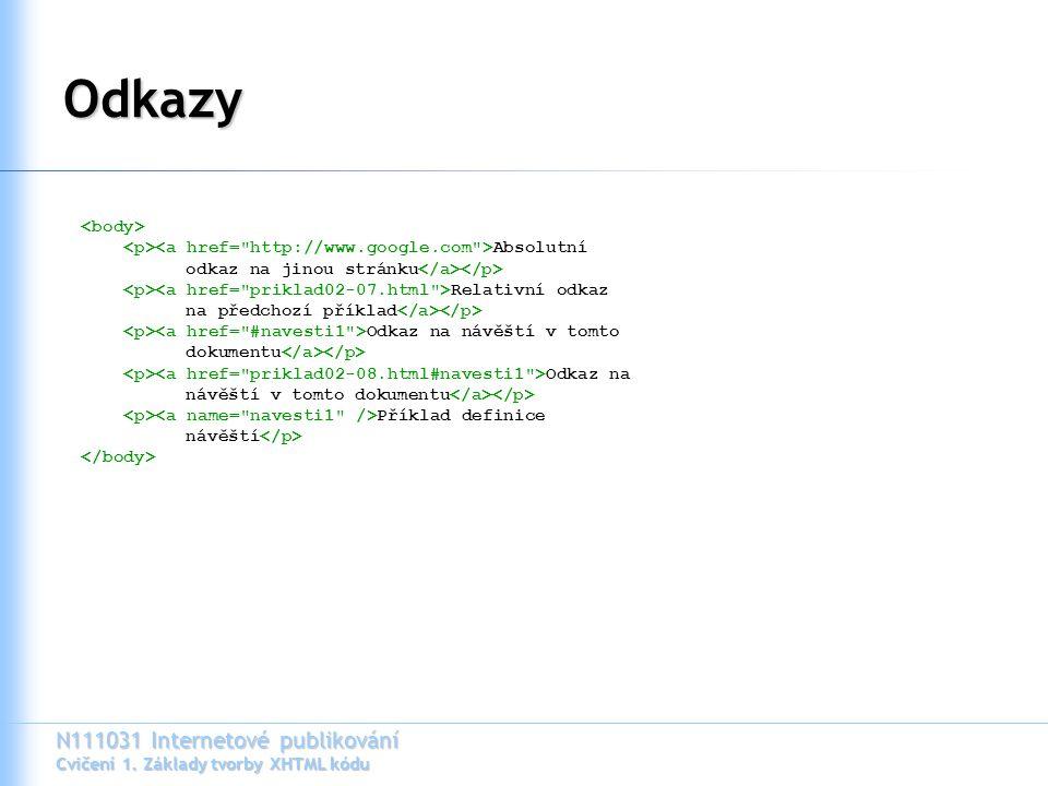 N111031 Internetové publikování Cvičení 1. Základy tvorby XHTML kódu Odkazy Absolutní odkaz na jinou stránku Relativní odkaz na předchozí příklad Odka