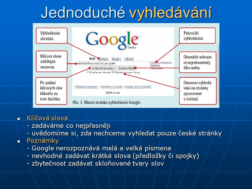 Jednoduché vyhledávání Klíčová slova Klíčová slova - zadáváme co nejpřesněji - uvědomíme si, zda nechceme vyhledat pouze české stránky Poznámky Poznám