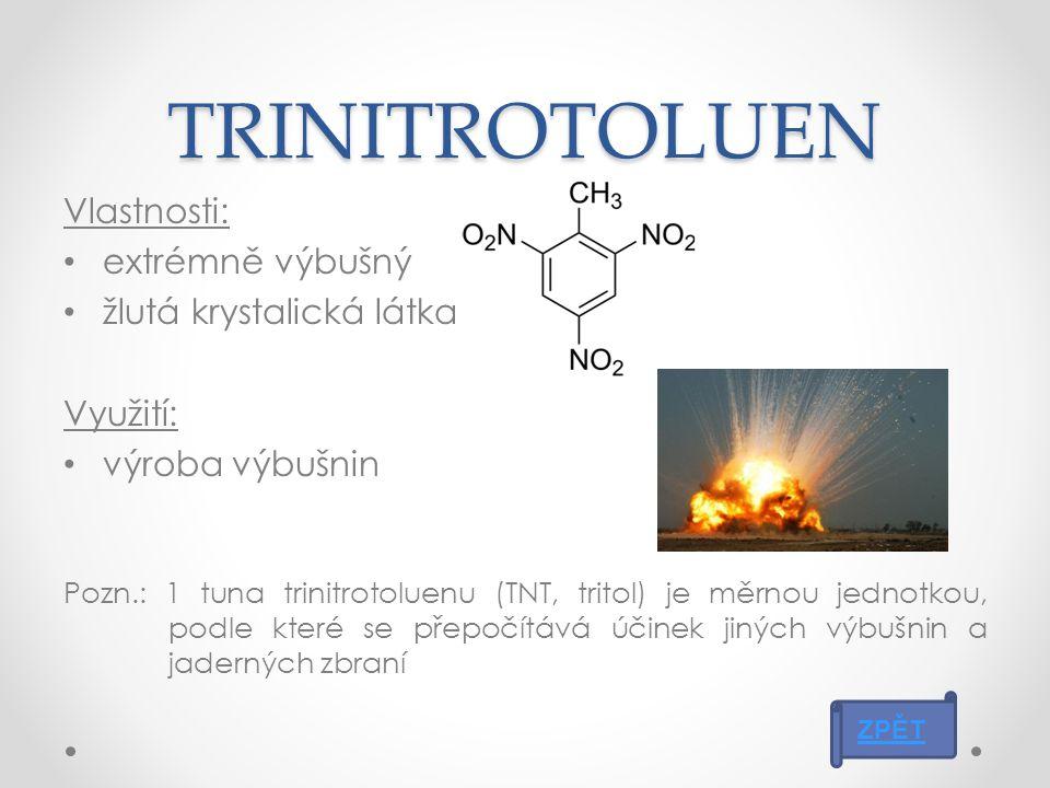 ANILIN Vlastnosti: toxický a nebezpečný pro životní prostředí průmyslově se vyrábí z nitrobenzenu bezbarvá olejová kapalina na vzduchu oxiduje změna barvy na žlutou až hnědou Využití: výroba barviv a léčiv ZPĚT