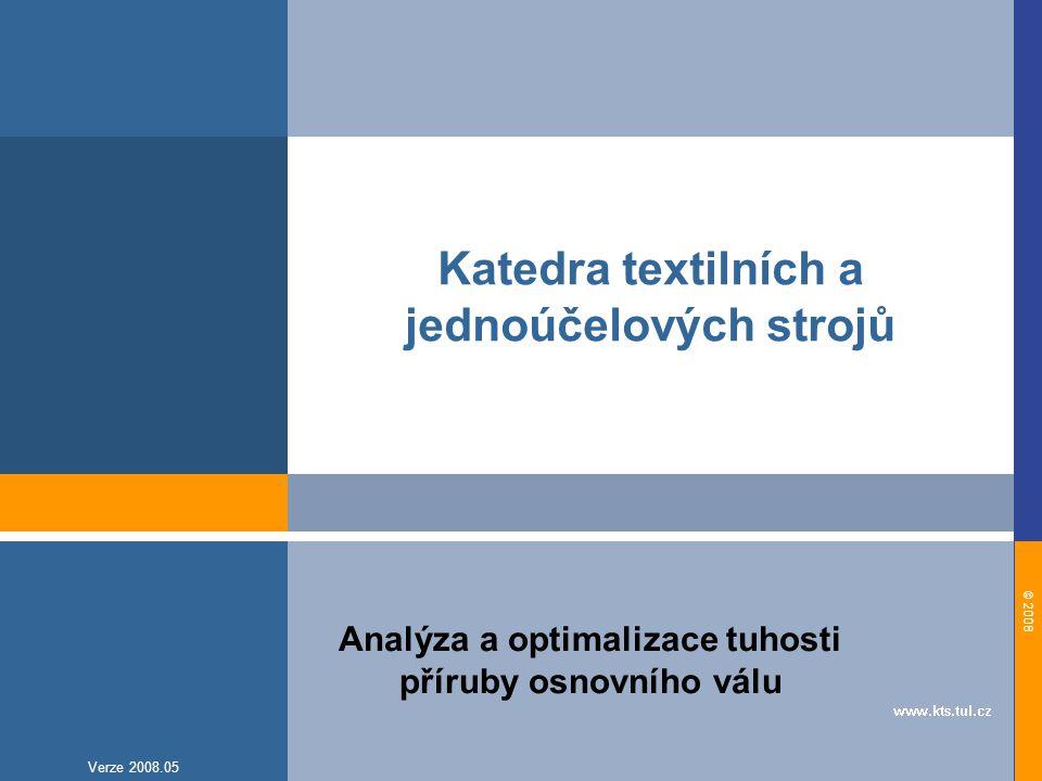 © 2008 Verze 2008.05 Katedra textilních a jednoúčelových strojů Analýza a optimalizace tuhosti příruby osnovního válu