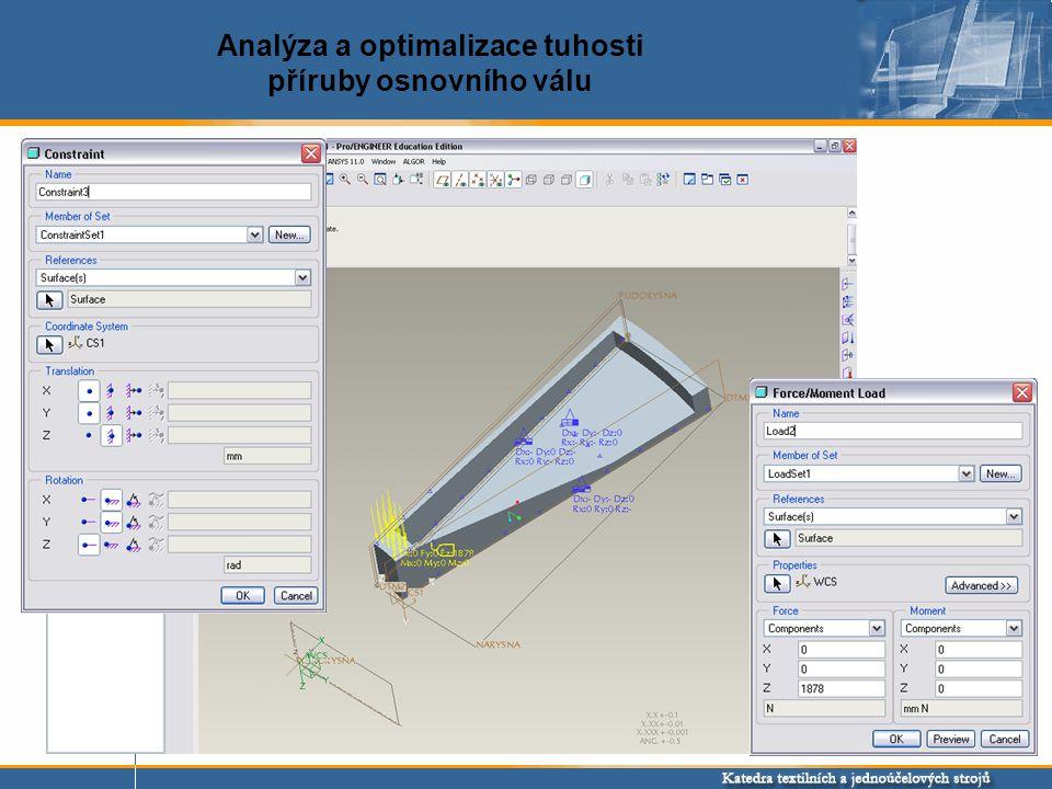 Analýza a optimalizace tuhosti příruby osnovního válu