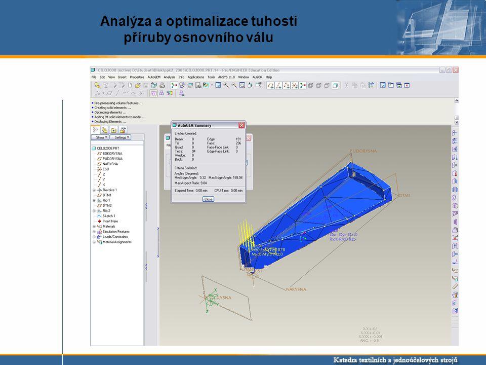 Původní model Optimalizovaný model Optimalizace tvaru součásti (minimalizace hmotnosti při zachování tuhosti součásti)