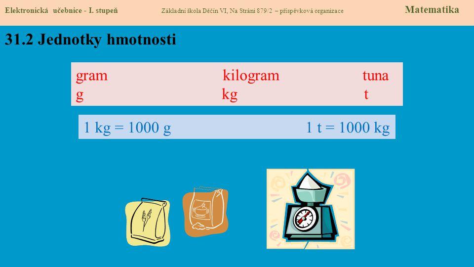 31.3 Jednotky hmotnosti Elektronická učebnice - I.