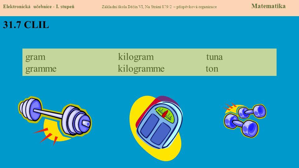 31.7 CLIL Elektronická učebnice - I. stupeň Základní škola Děčín VI, Na Stráni 879/2 – příspěvková organizace Matematika gram kilogram tuna gramme kil
