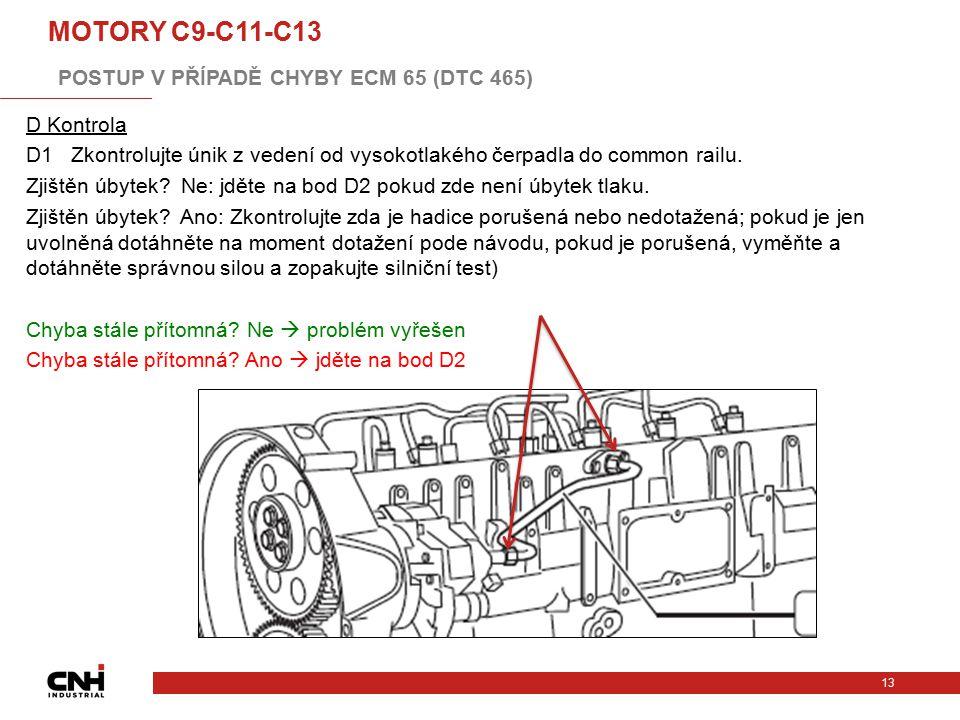 D Kontrola D1 Zkontrolujte únik z vedení od vysokotlakého čerpadla do common railu. Zjištěn úbytek? Ne: jděte na bod D2 pokud zde není úbytek tlaku. Z