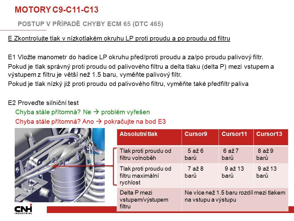 E Zkontrolujte tlak v nízkotlakém okruhu LP proti proudu a po proudu od filtru E1 Vložte manometr do hadice LP okruhu před/proti proudu a za/po proudu