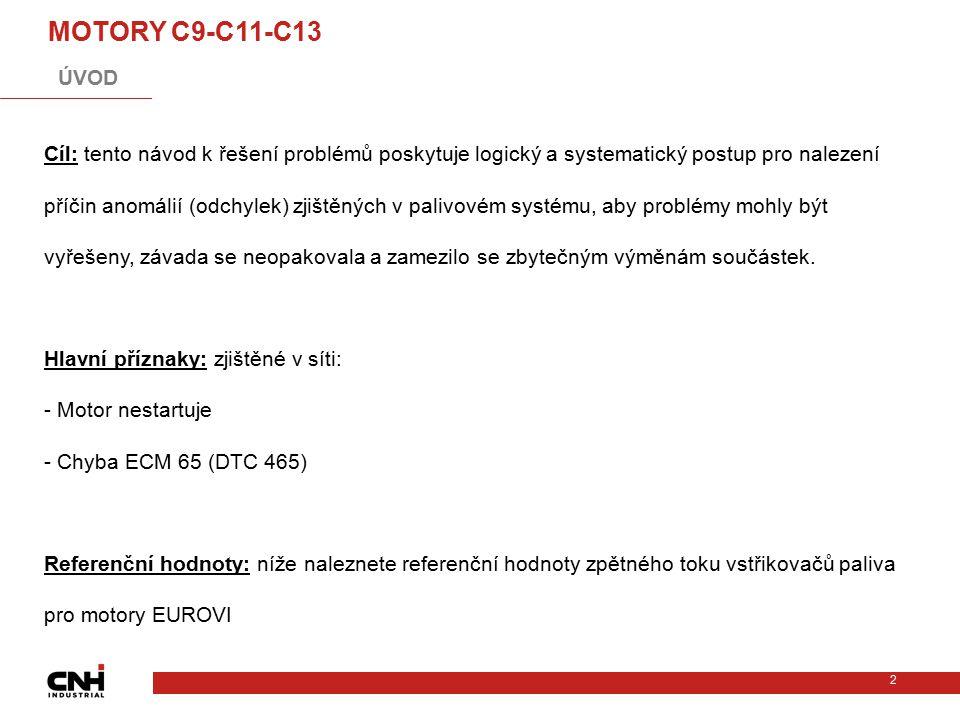 2 MOTORY C9-C11-C13 Cíl: tento návod k řešení problémů poskytuje logický a systematický postup pro nalezení příčin anomálií (odchylek) zjištěných v pa