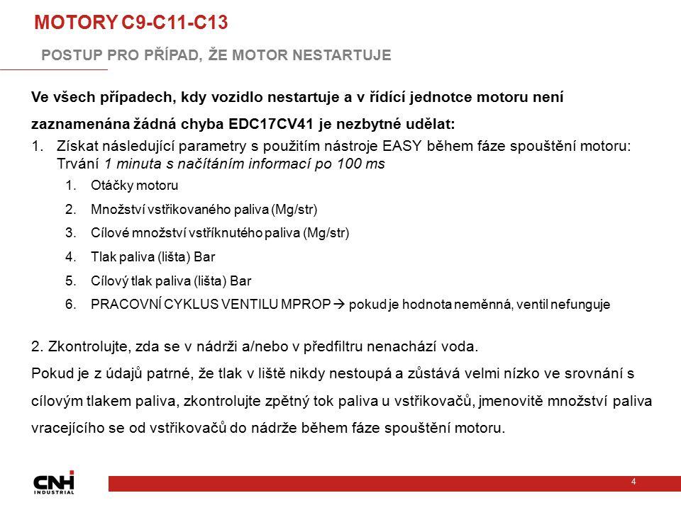 4 MOTORY C9-C11-C13 Ve všech případech, kdy vozidlo nestartuje a v řídící jednotce motoru není zaznamenána žádná chyba EDC17CV41 je nezbytné udělat: 1
