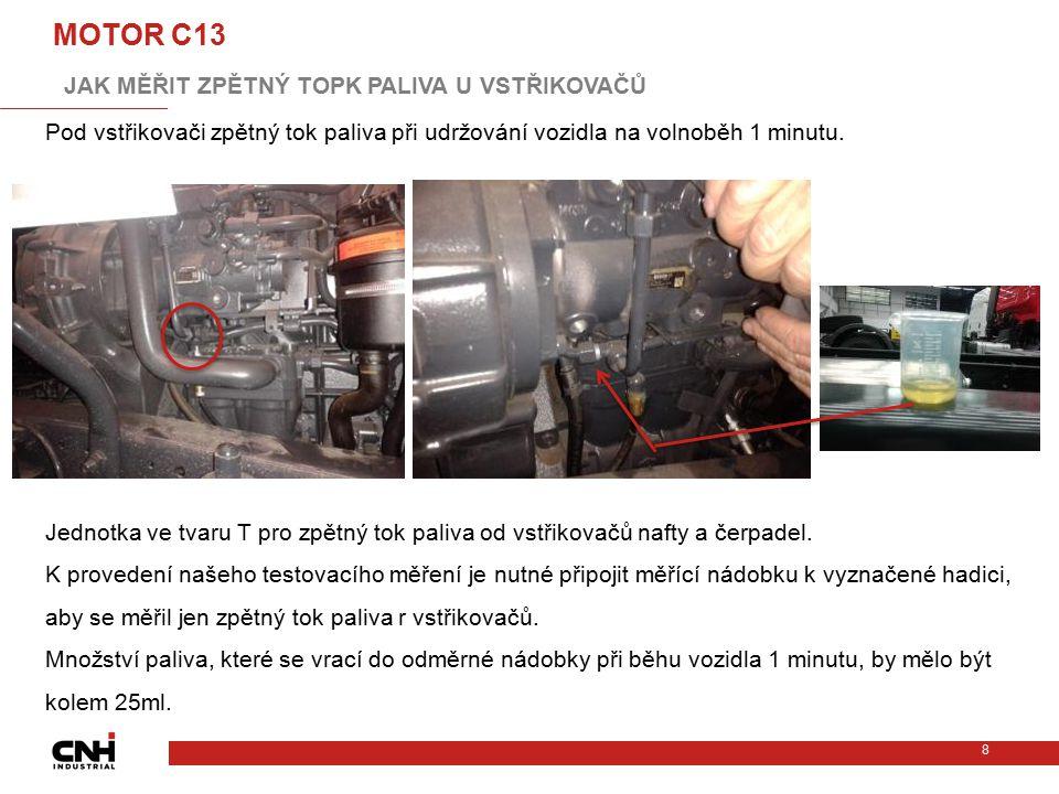 Pod vstřikovači zpětný tok paliva při udržování vozidla na volnoběh 1 minutu. Jednotka ve tvaru T pro zpětný tok paliva od vstřikovačů nafty a čerpade