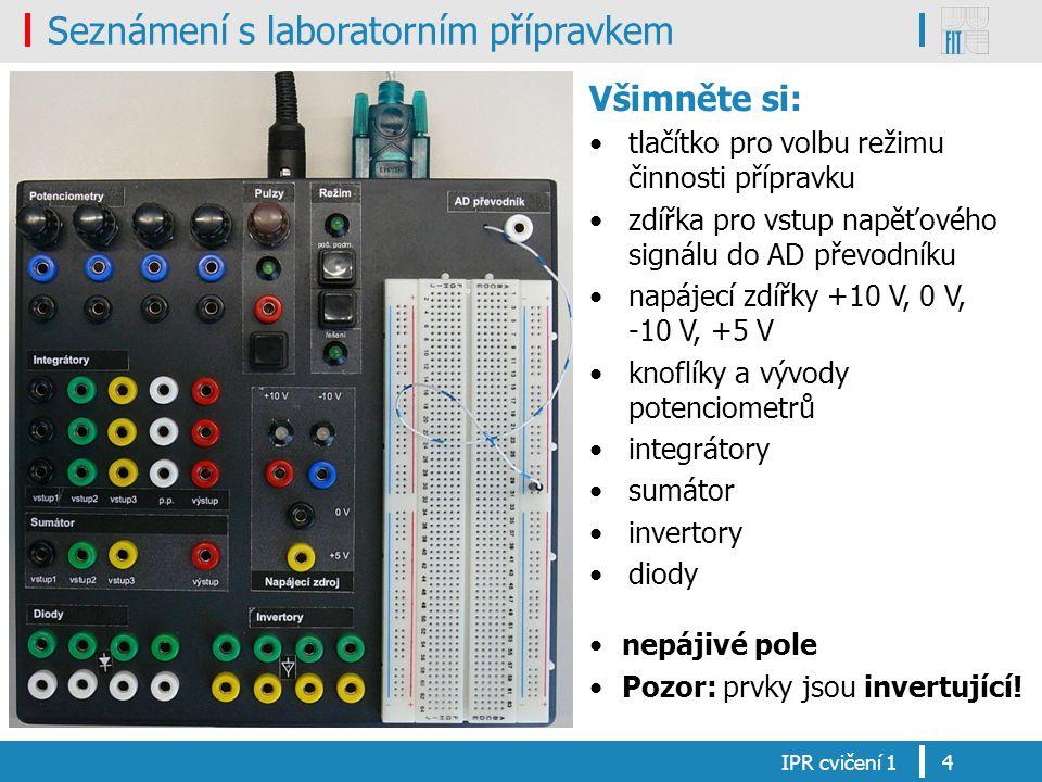 Seznámení s laboratorním přípravkem IPR cvičení 14 Všimněte si: tlačítko pro volbu režimu činnosti přípravku zdířka pro vstup napěťového signálu do AD převodníku napájecí zdířky +10 V, 0 V, -10 V, +5 V knoflíky a vývody potenciometrů integrátory sumátor invertory diody nepájivé pole Pozor: prvky jsou invertující!