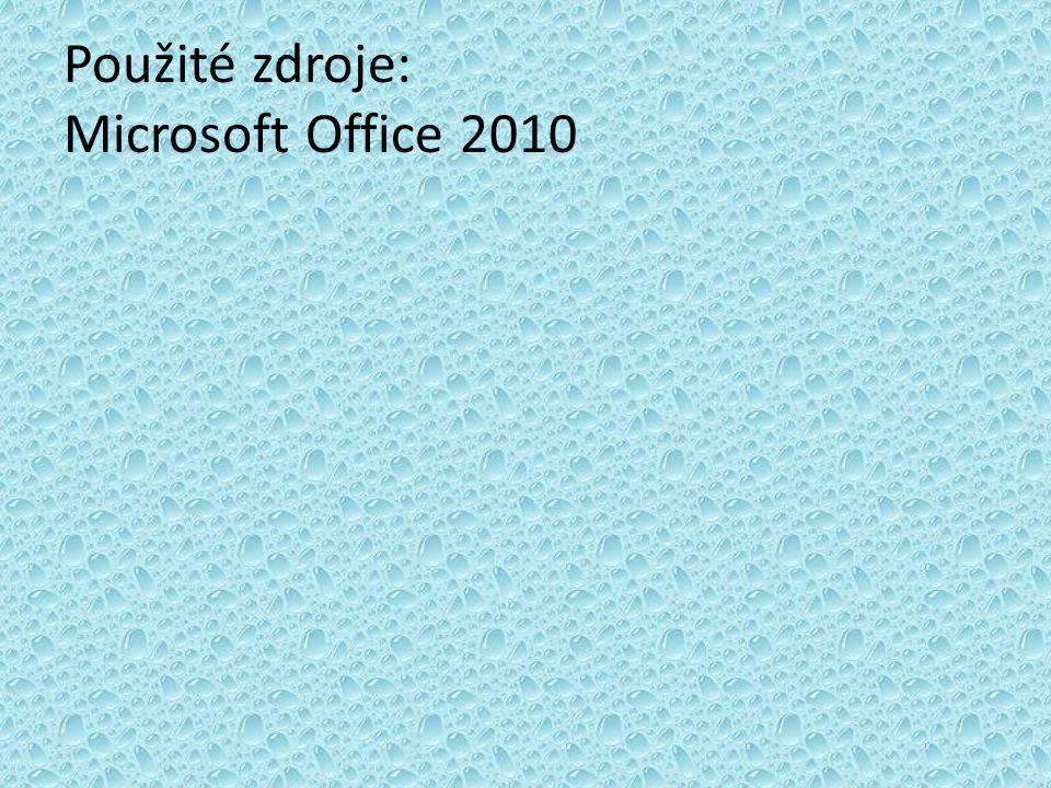 Použité zdroje: Microsoft Office 2010
