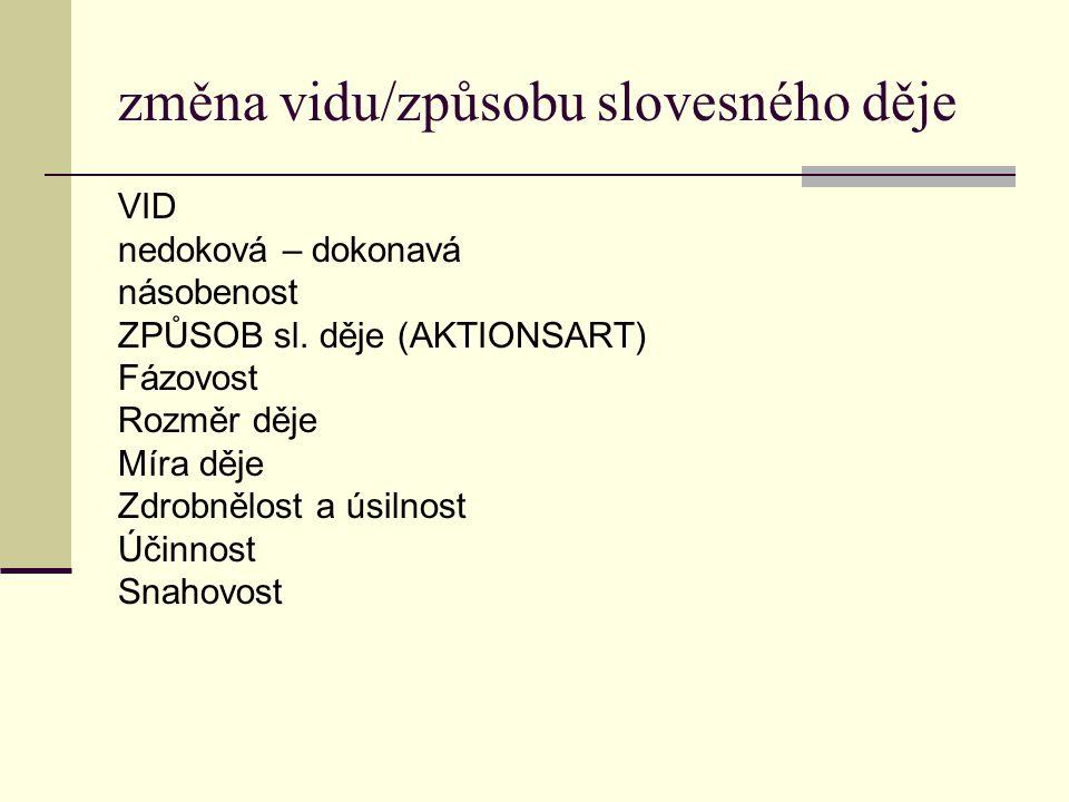 VID A.Dokonavost: příponami předponami 1. nedokonavá (imp.)(sedět) 2.