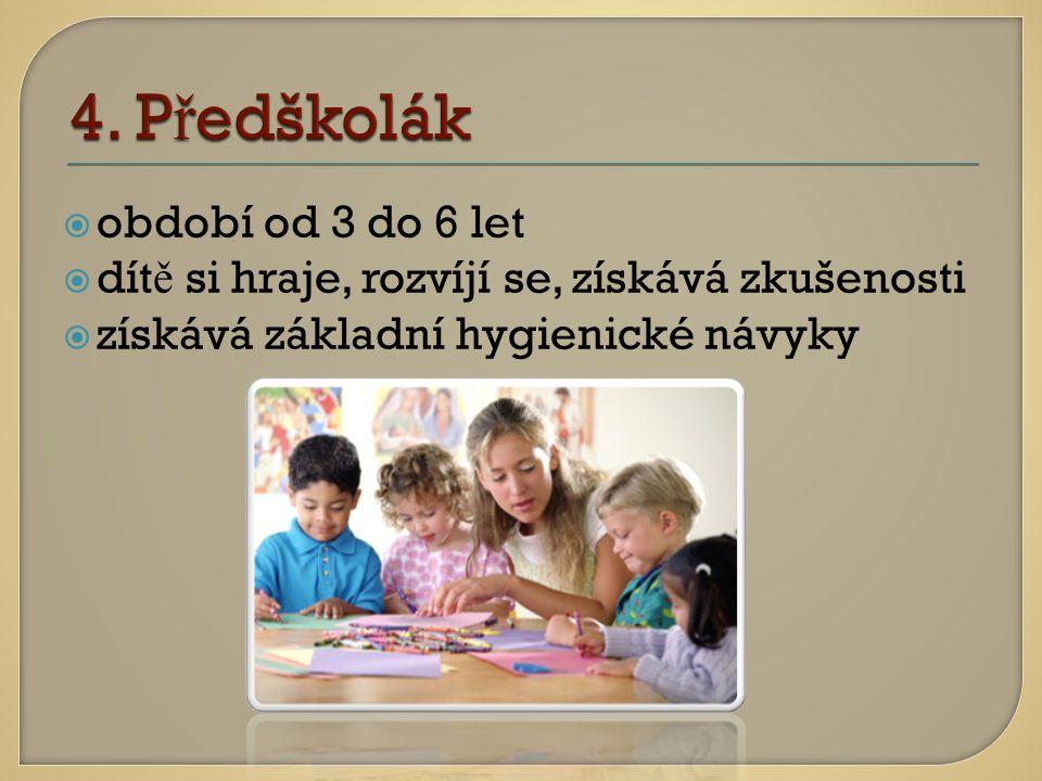 oobdobí od 3 do 6 let ddít ě si hraje, rozvíjí se, získává zkušenosti zzískává základní hygienické návyky