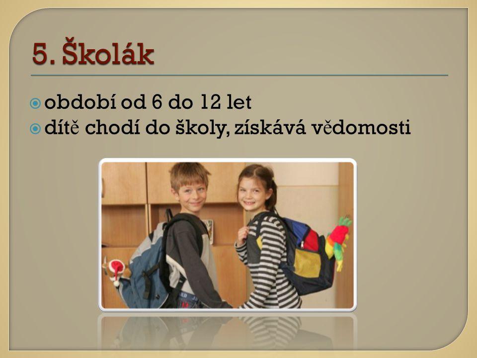 oobdobí od 6 do 12 let ddít ě chodí do školy, získává v ě domosti