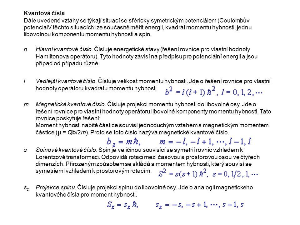 Kvantová čísla Dále uvedené vztahy se týkají situací se sféricky symetrickým potenciálem (Coulombův potenciálV těchto situacích lze současně měřit energii, kvadrát momentu hybnosti, jednu libovolnou komponentu momentu hybnosti a spin.
