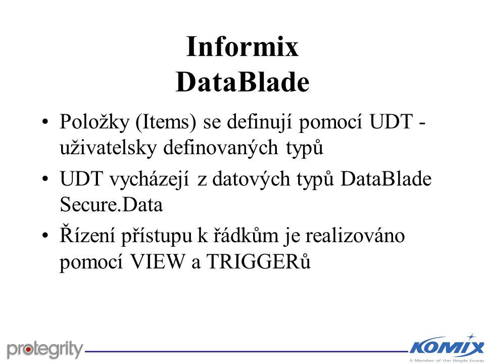 Informix DataBlade Položky (Items) se definují pomocí UDT - uživatelsky definovaných typů UDT vycházejí z datových typů DataBlade Secure.Data Řízení p