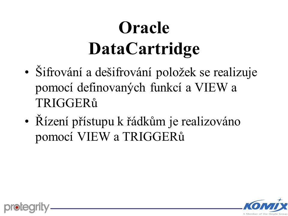 Oracle DataCartridge Šifrování a dešifrování položek se realizuje pomocí definovaných funkcí a VIEW a TRIGGERů Řízení přístupu k řádkům je realizováno