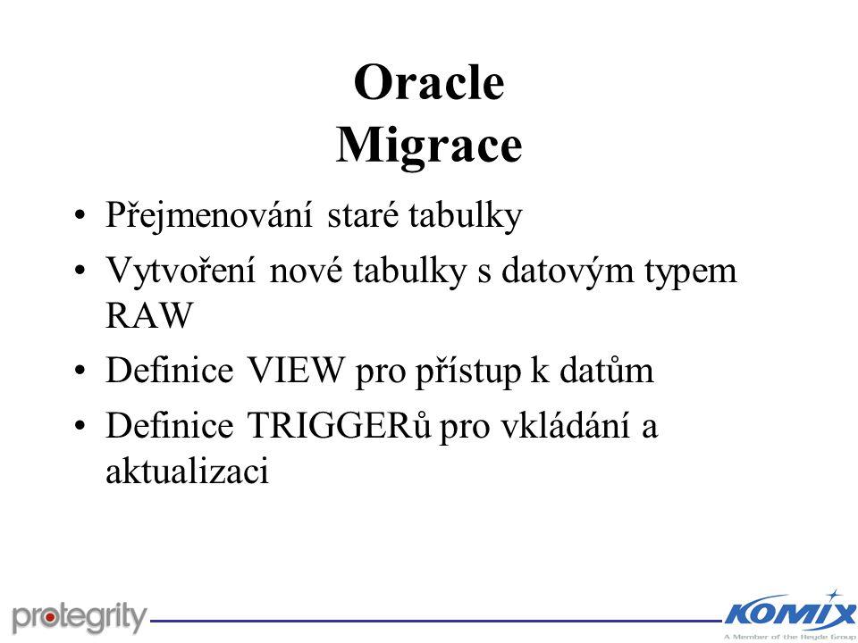 Oracle Migrace Přejmenování staré tabulky Vytvoření nové tabulky s datovým typem RAW Definice VIEW pro přístup k datům Definice TRIGGERů pro vkládání